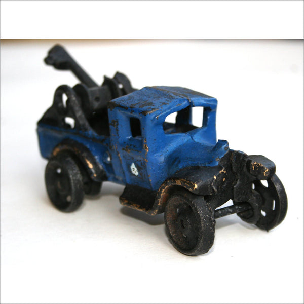 Early 1900s Antique Cast Iron Toy Wrecker Tow Truck Collectible in Bright Blue and Black