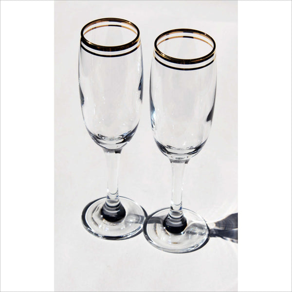 ETERNAL Champagne Flute Tall Glasses Classic Double Gold Ring Rim Glasses Set of 2 Barware Celebration