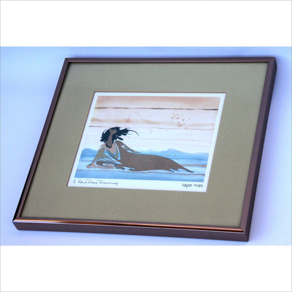 Fine Art Print Canadian Sioux Indian Artist Maxine Noel Santee Oglala A new Day Dawning Professionally Framed Art Work in Copper Metal Frame