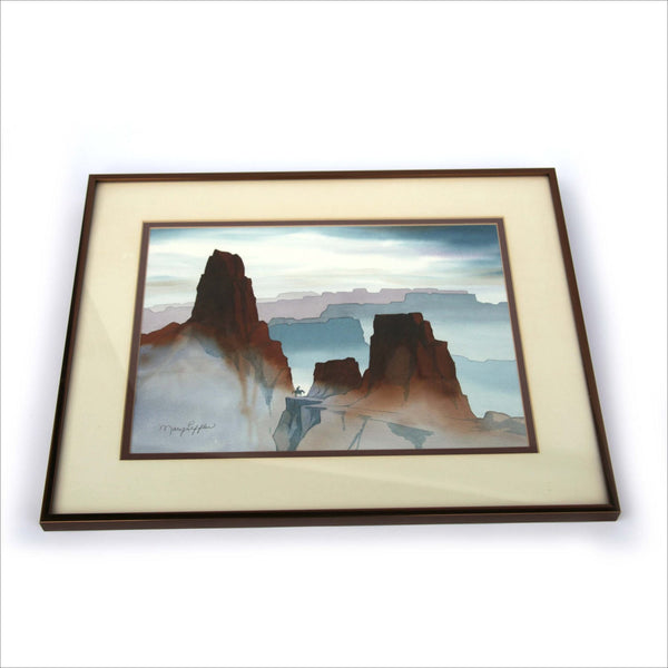 Framed Watercolor Painting THE SOUTHWESt by MARY LEFFLER San Diego Artist Cowboy on Horseback in Grand Canyon Mountains Signed w Biography