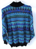 Geometric Tribal Sweater Party Metallic Sweater for Men Women Mock Tuttleneck Blue Purple Black & Silver Knit Geek Chic