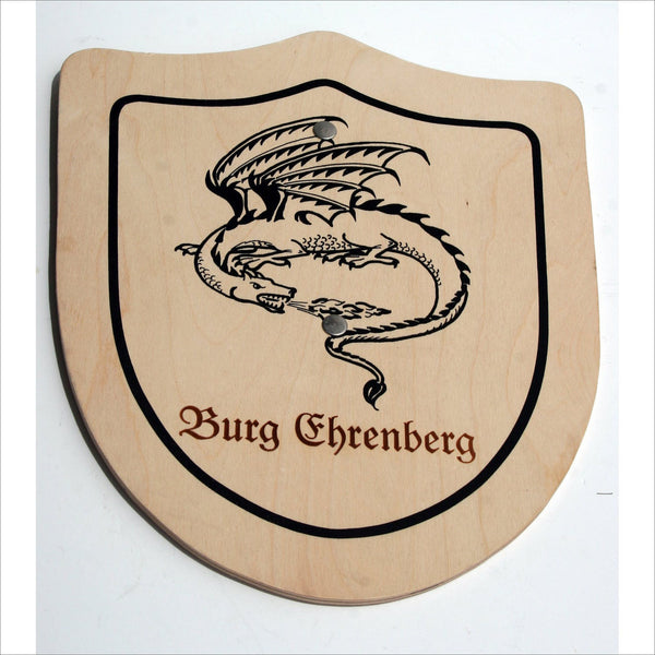 German Castle Burg Chrenberg Dragon Knights Wooden Painted Shield Souvenir for Warriors and in Fairy Tales