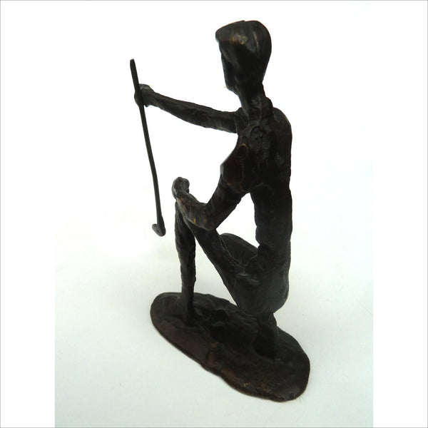 Giacometti Style Golfer Solid Bronze Sculpture of Golfer Brutalist Surrealist Sculptor Modernism Expressionist