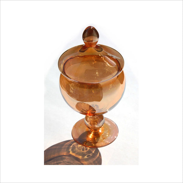 Glass Pedestal Lidded Candy Dish in Iridescent Amber Mid Century Modern Minimalist Mad Men Style