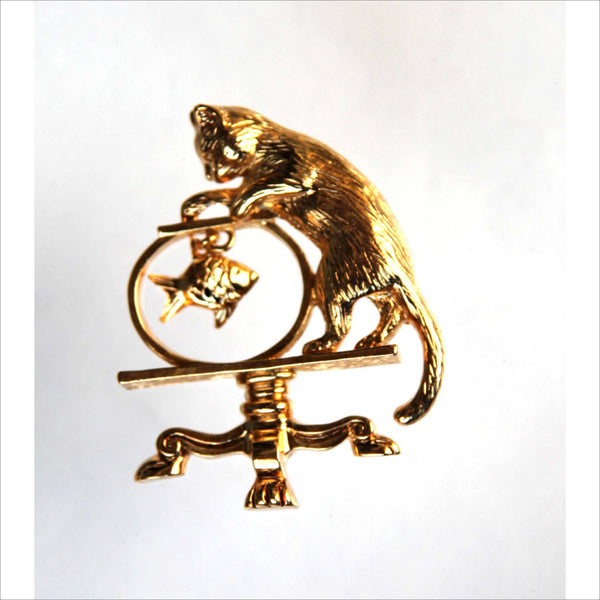 Gold CAT and GOLDFISH in Bowl Vintage AVON Pin Brooch Jewelry Standing on Claw foot Table