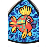 Gold Fish Hand Painted Plate Cartoon Comic Happy Neon Colors Signed Whimsical Art Under the Sea