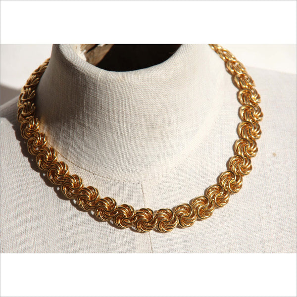 Gold Love Knot Choker Statement Necklace Sheppard Hook Adjustable Length Rosettes