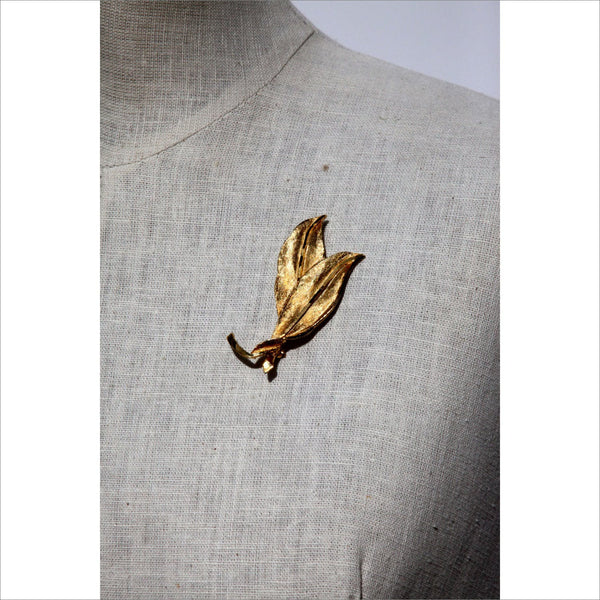 Gold Tone Double Leaf Brooch Pin by AN Mid Century Modern Vintage Collectible Gold Leaf P