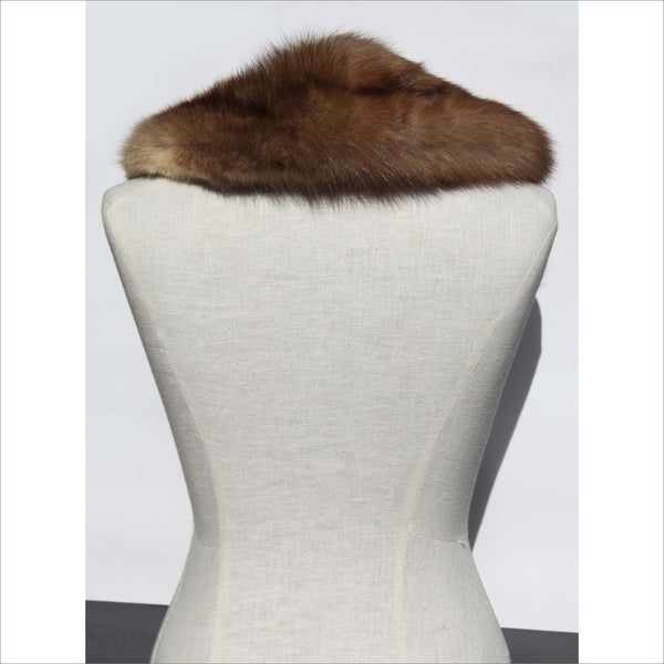 Golden Mink Neck Collar Lined in Brown Velvet with Fur Clip Vintage 50s Luxury Accessory