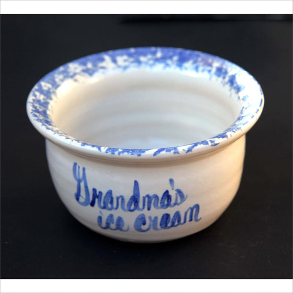 GRANDMAS Icecream ROSEVILLE Ohio R.R.P. Roseville Ransbottom American Country Hand Painted Wheat Motif Spongeware Cobalt Blue Terra Cotta