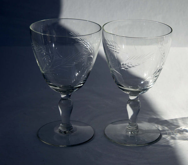 Hand Cut Crystal Wine Glasses Wheat Motif On Pedestal Base Hand Made