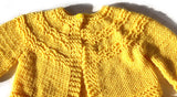 Hand Knit Baby Sweater and Hat in Sunshine Yellow 3- 6 month old for Boys Girls New Moms