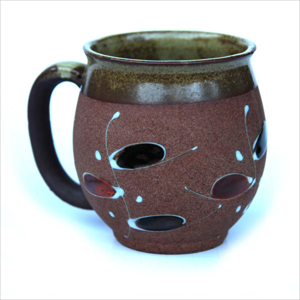 Hand Made Pottery Mug Mod Abstract Design Hand Formed Clay Glazed in Earthy Green Glossy Black White and Rust