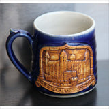 Hand Made Pottery Mug TOWER of LONDON by CORNWALL Pottery Coiled Clay 3D Protruding Image in Royal Blue White