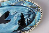 Hand Painted RAVEN Soaring Mountains Platter  Hand Made Pottery New Condtion - Thanksgiving Christmas Party or Family Style Meals