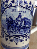 HEINEKEN Hand Painted Delfts Handwork Holland Draft Horse Village Mug Blue White