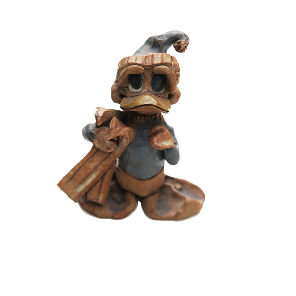 Hindt Pottery of California Skiing Duck Figurine Hand Made One of a Kind Art