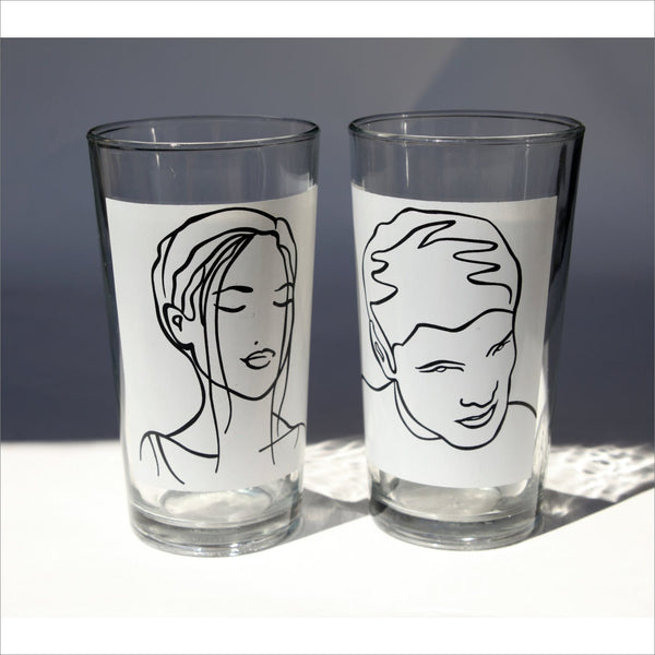 His Hers Cartoon Glasses Man Women Superhero Figures for Wedding Birthday Shower  in Black and White Ink Transfer