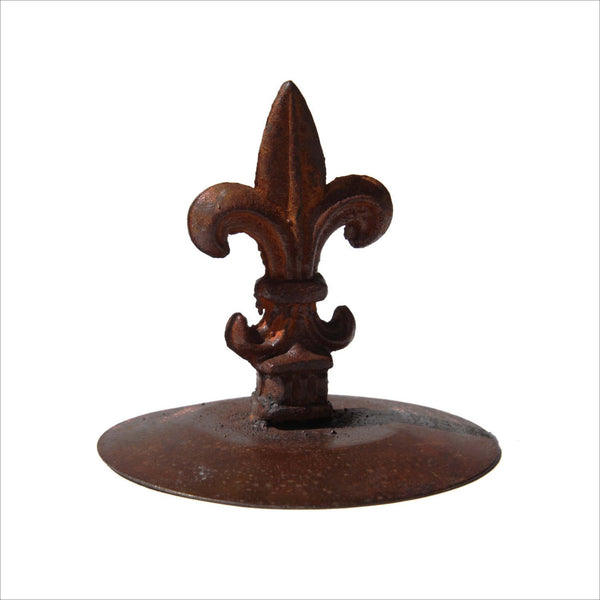 Industrial Art Fleur de Lis Cast Iron Table Top or Garden Decor Rusted Antique Mounted and Sealed French Home Decor
