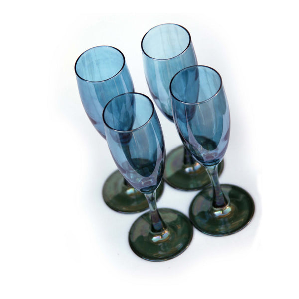 Iridescent Blue and Green Champagne Toasting Flutes