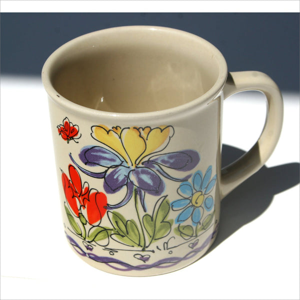 JAPAN Coffee Mug with Hand Painted Flowers Butterfly Heart Daisy Poppy Tulip Iris in Baby Blue Lemon Yellow Mint Green Violet Purple & Red