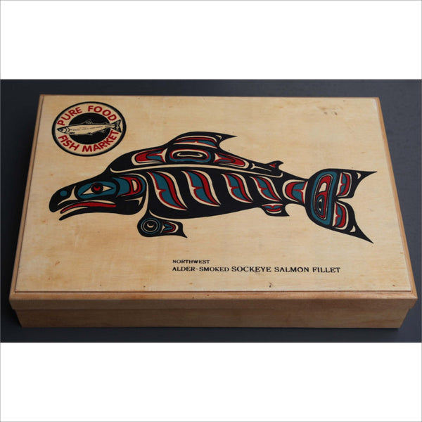 Killer Whale Alaska Native American Inuit Inspired Art Wood Box Painted Face Hinged Lid  Box for Pens Jewelry Trinket
