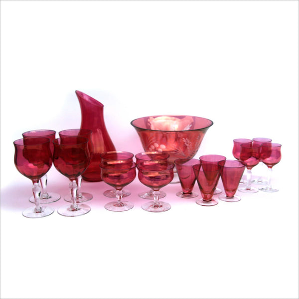 LENOX Cranberry Crystal Bar Set Reflects Gold Cut to Clear Liquor Decanter Punch Bowl Wine Glasses Shooter Champagne Flute Clear Stems