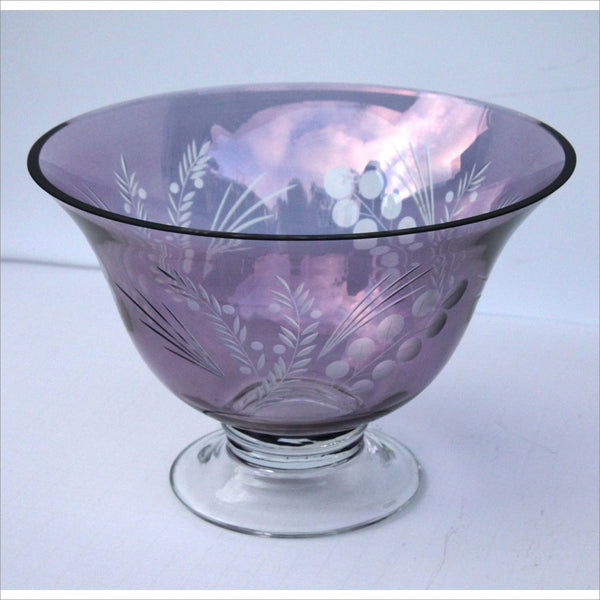 LENOX Cranberry Crystal Bowl Cut to Clear Liquor Decanter Punch Bowl Fruit Bowl on Footed Base