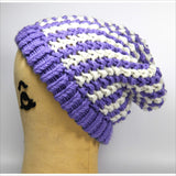 Lilac Purple & Snow White Thick Cable Hand Knit Hat Slouch Style Toque One Size Unisex Winter Autumn Accessory