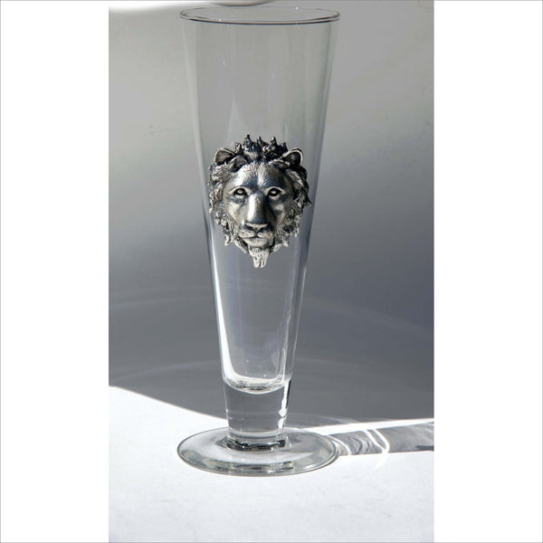 LION HEAD PEWTER Crystal Beer Glass Toasting Flute King of Beasts in Silver and Clear Handcrafted by Arnold Court