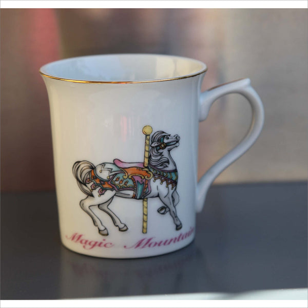 MAGIC MOUNTAIN Horse Carousel  Mug White Porcelain Gold Rim with Thumbrest White Pony Long Mane Tea Cup