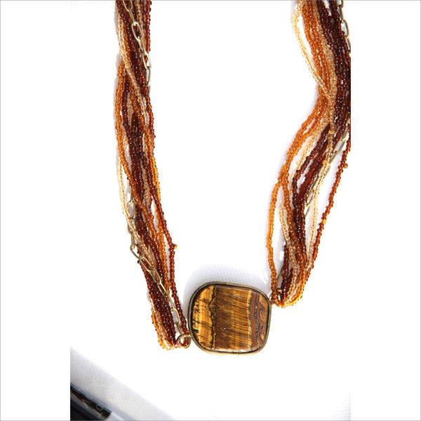 Magical Tiger Eye Choker Pendant in Antique Brass Seed Bead Multi Strand Statement Necklace