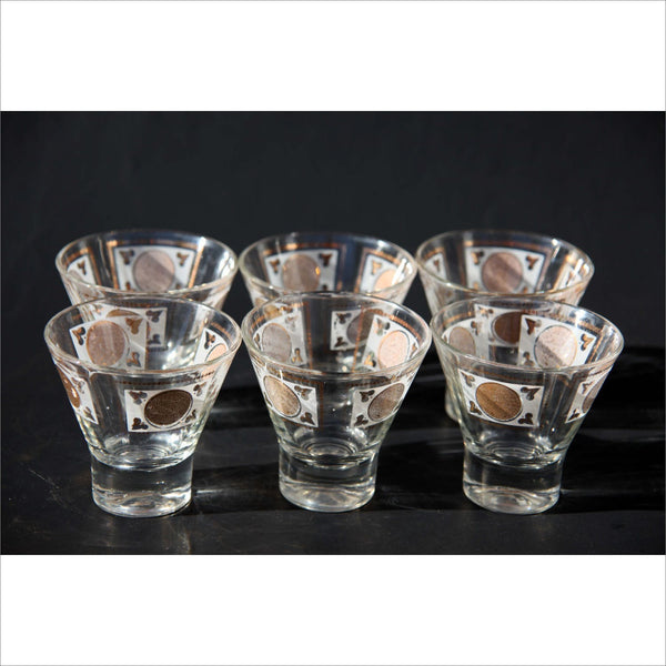 Mayan Calendar Coin Martini Tequila or Scotch Glasses Low Ball Barware Serving Set Heavy Bases and Wide Mouth