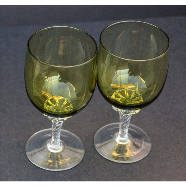 Mid Century Green Wine Glasses Avocado Green Bowl Color with Hand Blown Twist Torque Stem Vintage Barware Set of 2 60s