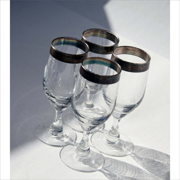 Mid Century Modern Thick Sterling Silver Hand Painted Rim Wine Glass Set on Stems Luxury Vintage Barware