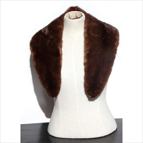 Mink Scarf Collar Brown Mink Fur Wrap Lined Luxury Accessory for Women or Men Mid Century Fashion Accessory