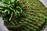 Mint Green and Brown Pom Pom Winter Knit Toque Thick Cable Hand Knit Hat Slouch Style for Men or Women - Grandma approved