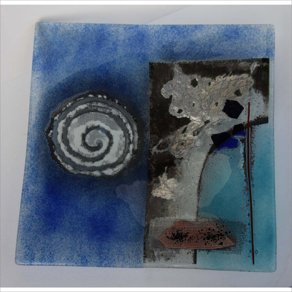 Mixed Media Art Glass Metal Found Object Fusion Slumped Glass Plate Silver Copper Cobalt and Baby Blue Spirals Abstract Composition