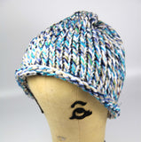 Multi Color Fleck Blue Purple Green White Navy Sand Hand Knit Hat Slouch Style Toque One Size Unisex