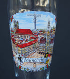Munchen Olypia Turm Souvenir Beer Stein Gold Rim Half Liter City Square Munich Europe Pilsner Glass
