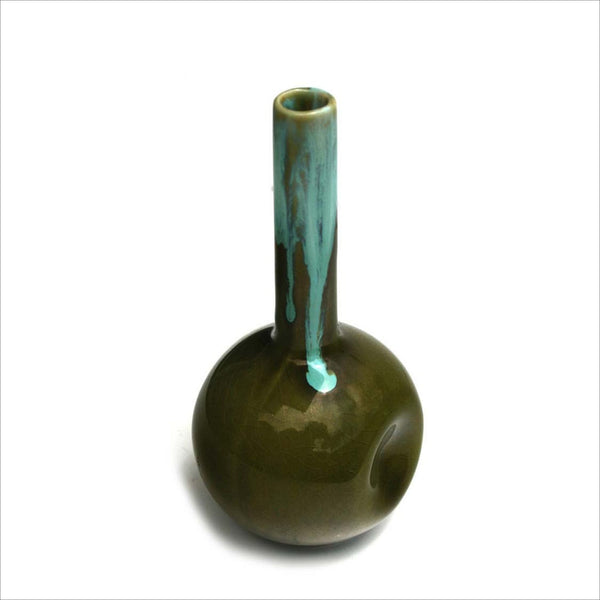 NAPCOWARE IMPORT JAPAN Vintage Bud Vase Thumbprint Pinched Drip Glaze Signed Stamped Avocado Green Seafoam Teal Turquoise