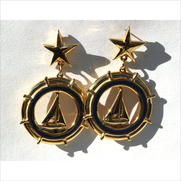 Nautical Sailing Earrings for Women Mermaid Pirate Yaught Club Gold Nautical Jewelry Sailboat Sailing  Starfish Sparking Earrings