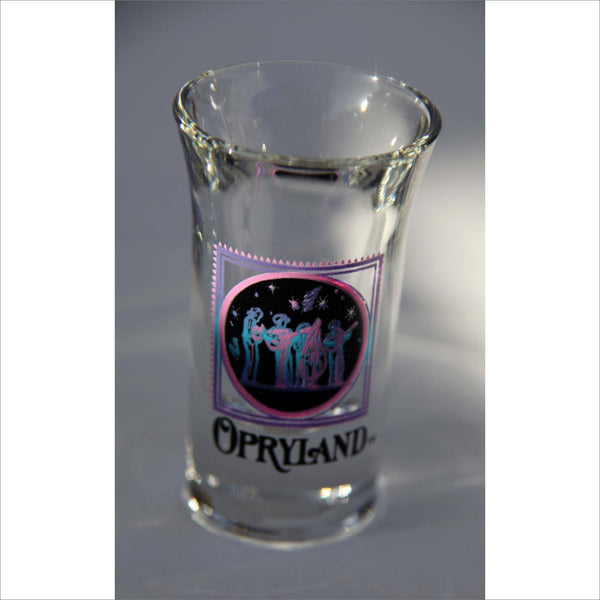 OPRYLAND Shooter Shot Glass Collectible GAYLORD OPRYLAND Ice Nashville Clear Glass Purple Blue Label