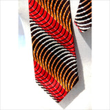 Optical Illusion Mens Neck Tie 70s Woven Neckwear in Dizzying Vortex Waves of Mezmerizing Orange Red and Brown KLEINHANS