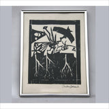 Original ART Block Print Primitive Abstract Impressionist Art Shape Shifters Professionally Framed Signed by the Artist