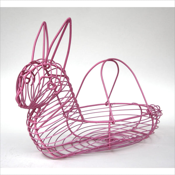 PINK BUNNY Egg Basket with Handles Coated Wire Fun Way to Store Eggs Sea Shells or for Counter Decor