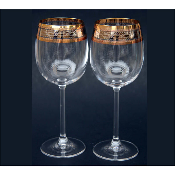 Platinum Silver Gold Color Rim Wine Glasses Interlocking DNA Rings Set of 2 on Stems Celebration Wedding Birthday Art Glasses