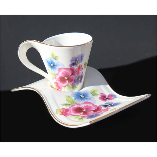 Porcelain Tea Cup and Saucer African Violets with Whip Handle Flying Saucer Plate Trimmed in Gold Pink Blue