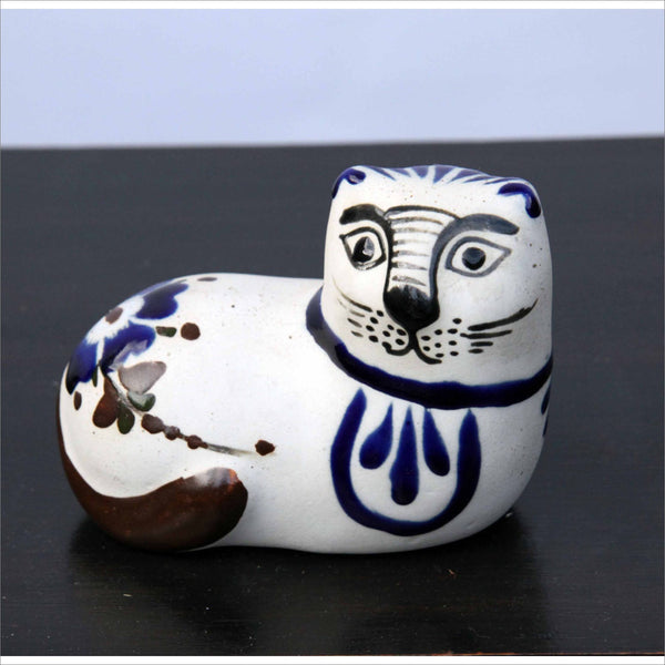 Pottery Cat Mexican Folk Art Gato Hand Made Pottery Painted Decorated with Flowers Leaves and Ferns Cobalt Chocolate and Black Glaze