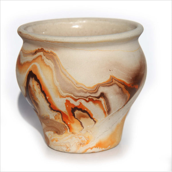 Pottery Vase Planter Nemadji Native American Indian Style Signed Pottery in Sand Deep Brown and Rust Orange Abstract Striations